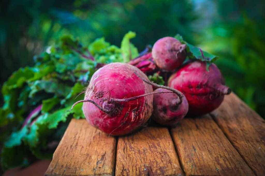 fresh beetroot on a table.