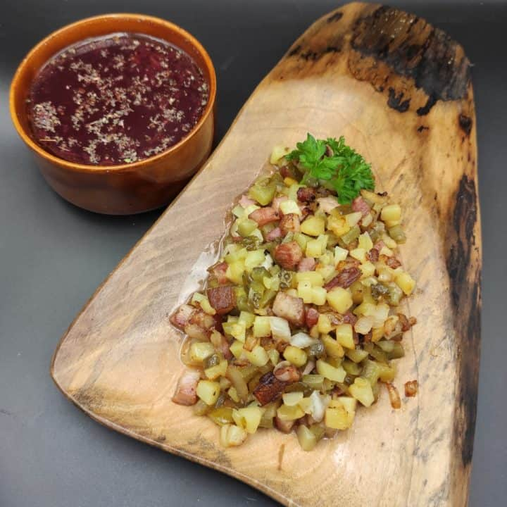 Easy Polish Side Dish Recipe - Fried Potatoes With Bacon, Onion And Dill Pickle
