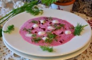 Polish Chlodnik Soup in a white bowl.