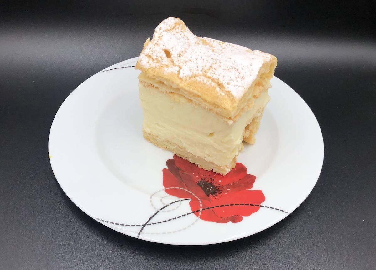Karpatka slice in a white plate.