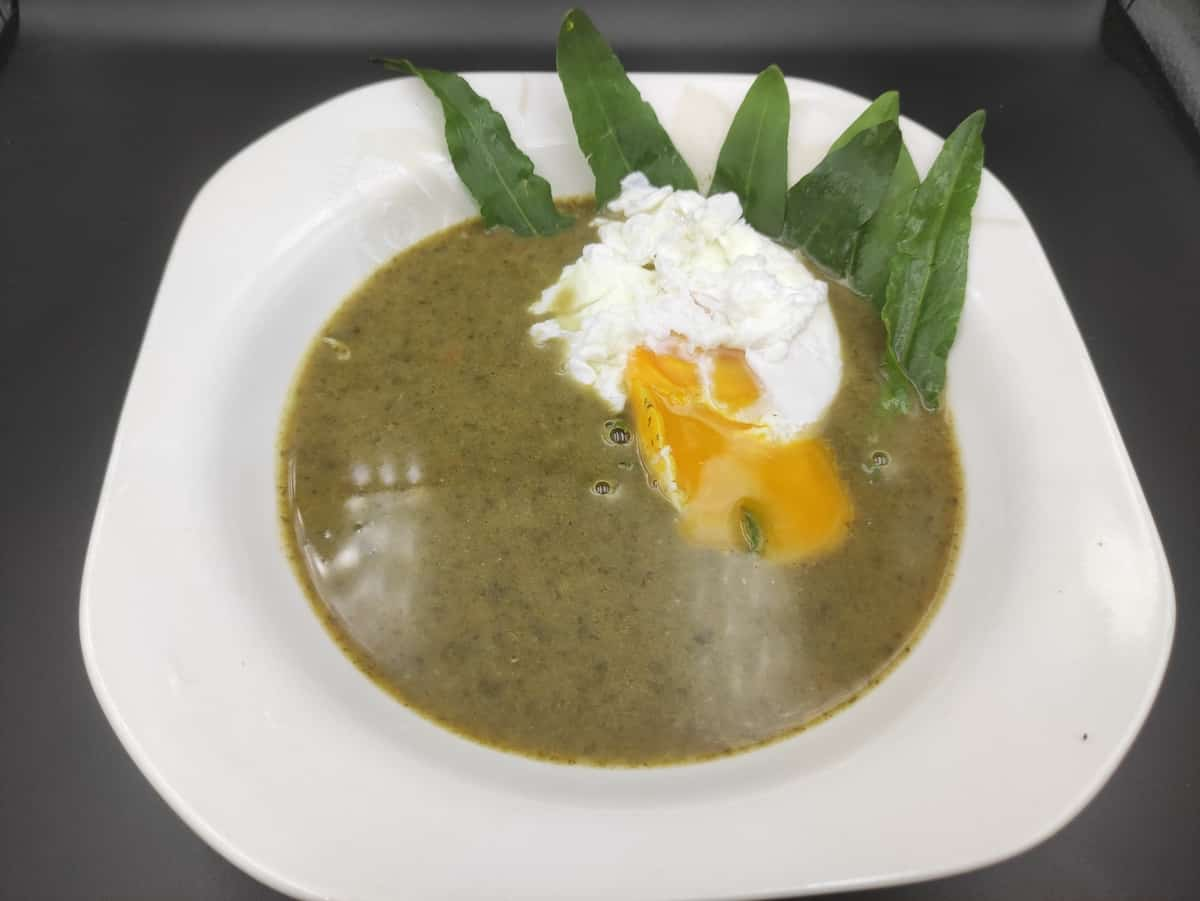 Polish Zupa Szczawiowa topped with a poached egg.