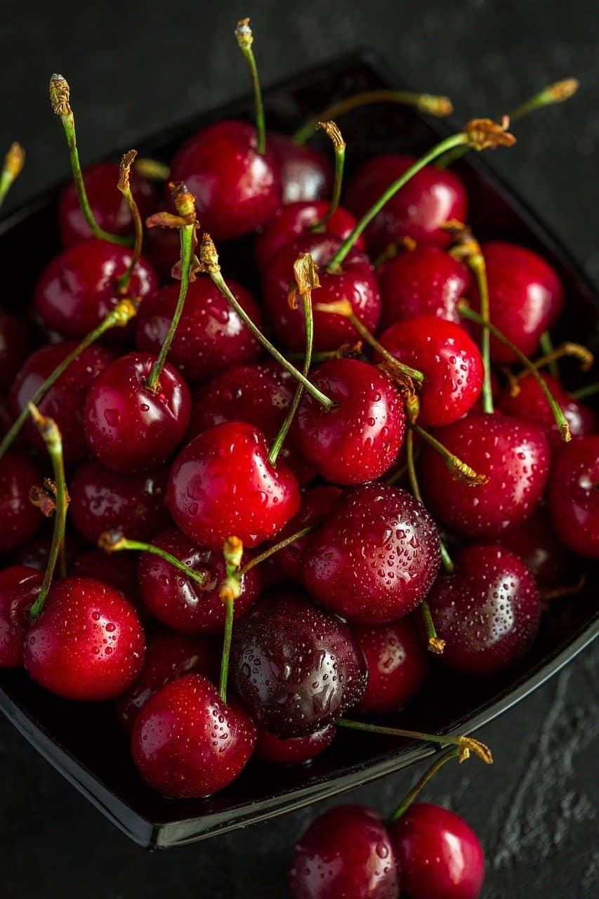 fresh cherries.