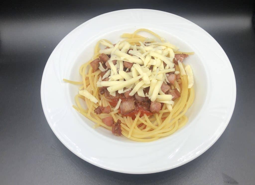 Polish spaghetti with kielbasa and cheese.